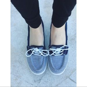 Blue white nautical striped slip on boat Ked shoes